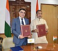 Radha Mohan Singh and the Minister of Agriculture, Rural Development and Environment, Cyprus, Mr. Nicos Kouyialis signed the Work Plan for 2017–18 in the Agriculture Sector between India and Cyprus, at a bilateral meeting (1).jpg
