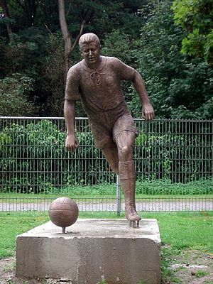 History of the Germany national football team - A statue of Helmut Rahn, who scored the winning goal in the 1954 FIFA World Cup final