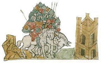 Rogvolod Vseslavich - Miniature from the Radziwiłł Chronicle: Rogvolod-Boris rides to rule in Polotsk