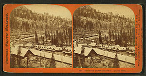 Cisco, California - Stereo card view of the CPRR's Cisco Depot during late spring time c. 1868