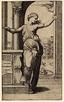Lucretia Engraved By Raimondi After A Drawing Raphael