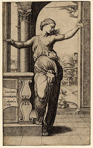 Marcantonio Raimondi - Lucretia, engraved by Raimondi after a design by Raphael.