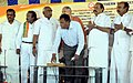 Rajen Gohain pressing the switch to mark the foundation stone laying ceremony for the doubling of tracks with electrification of Madurai- Vanchi Maniyachchi- Tuticorin Section (160 km).jpg
