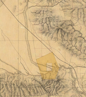 Rancho Providencia - Detail of the southeastern San Fernando Valley, from a manuscript map of Los Angeles and San Bernardino topography, 1880, showing the Rancho Cahuenga inholding within Rancho Providencia (shaded area, added).