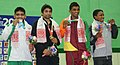 Ranjeesh (India) won the gold, Nadar (Pakistan) won silver, Saroj Yadav and WMC Parara (Sri Lanka) won bronze medal in 65kg female wrestling, at 12th South Asian Games-2016, in Dispur, Guwahati on February 06, 2016.jpg