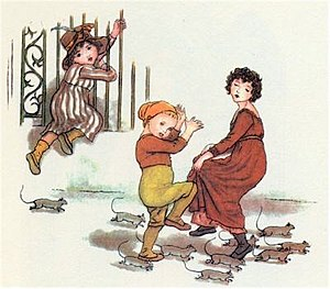 "Pied Piper of Hamelin - The rats of Hamelin. Illustration by Kate Greenaway for Robert Browning's ""The Pied Piper of Hamelin"""