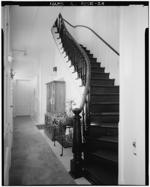 File:Rear hall and stairs, first floor; looking WNW. (Ryan and Harms) - Rock Island Arsenal, Building No. 1, Gillespie Avenue between Terrace Drive and Hedge Lane, Rock Island, HABS ILL,81-ROCIL,3-1-24.tif
