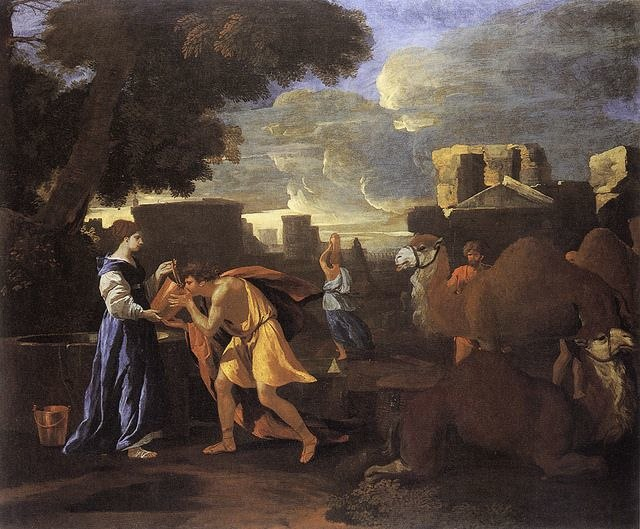 Rebecca Quenching the Thirst of Eliezer at the Well by Nicolas Poussin (1629, priv.coll)
