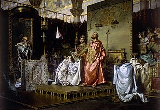 Visigothic Kingdom - Conversion of Reccared to Chalcedonian Christianity, painted by Muñoz Degrain.