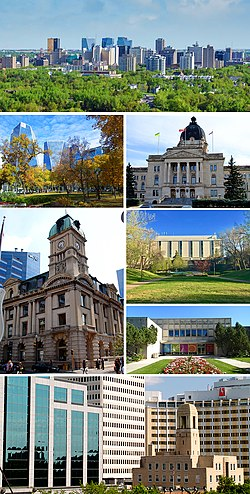 From top to bottom; left to right: Downtown, Victoria Park, Saskatchewan Legislative Building, Prince Edward Building, Dr. John Archer Library the Royal Saskatchewan Museum and a section of Scarth Street downtown.