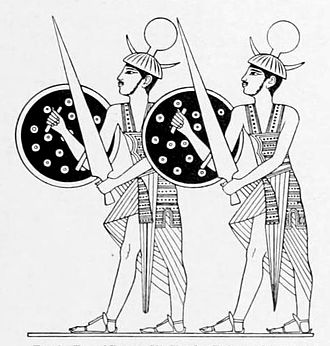 Sherden - A rendering of two guards from the relief above, in a 19th-century drawing; their equipment is clearly visible.