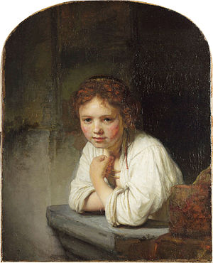 1645 in art - Image: Rembrandt Harmensz van Rijn Girl at a Window Google Art Project edited