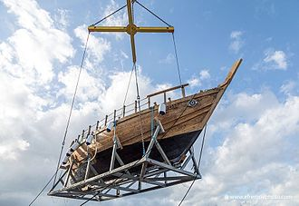Ma'agan Michael Ship - The replica of the old ship at the Israel Shipyards is lifted before it is lowered into the water