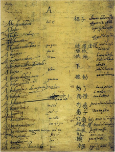 A page from the manuscript Portuguese-Chinese dictionary created by Ruggieri, Ricci, and Fernandez (between 1583-88) Ricci-Ruggieri-Portuguese-Chinese-dictionary-page-1.png