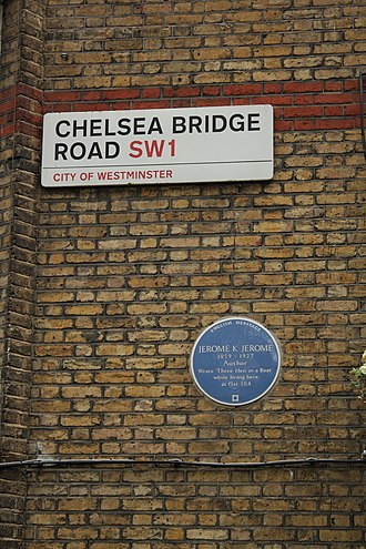 Chelsea Bridge Road - The sign for Chelsea Bridge Road, on the house where Jerome K Jerome wrote Three Men in a Boat
