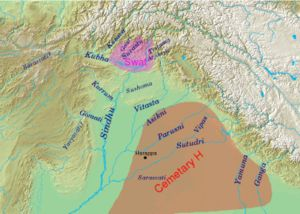 Cemetery H culture - Geography of the Rigveda, with river names; the extent of the Swat and Cemetery H cultures are  indicated.