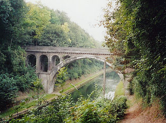 Staffordshire Brigade - Riqueval Bridge in 2003. The canal banks are much more overgrown than when the bridge was captured during the Battle of the St Quentin Canal