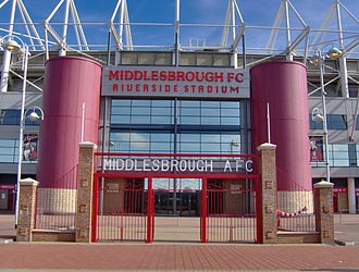 Middlesbrough F.C. - The Riverside Stadium in 2006, with the old gates to Ayresome Park in the foreground