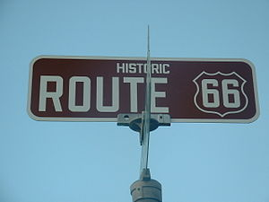 U.S. Route 66 in California - Route 66 highway sign, near Needles.
