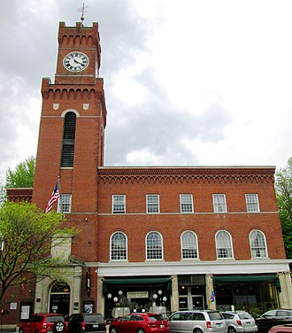 Bellows Falls, Vermont - Rockingham Town Hall, which holds the Opera House, was built in 1926 on The Square, and is part of the Bellows Falls Downtown Historic District, designated in 1982. (2016)