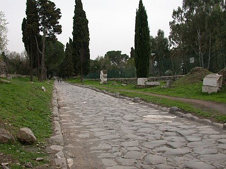 The Appian Way (Via Appia), a road connecting Ancient Rome to the southern parts of Italy, remains usable even today. RomaViaAppiaAntica03.JPG