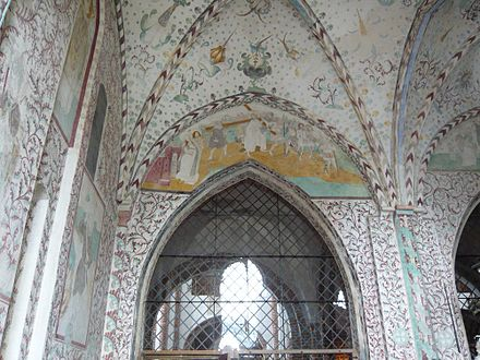 Frescos from c. 1460 decorate the chapel - Roskilde Cathedral