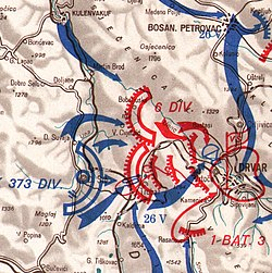 map showing the ground assault on Drvar by Kampfgruppe Willam