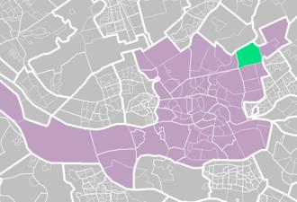 Ommoord - Ommoord (light green) within Rotterdam (purple).