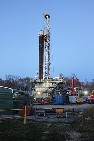 Shale gas in the United States - A Marcellus shale rig located in Roulette, Pennsylvania.