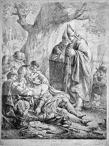 An engraving depicting a bearded middle-aged man dying on the ground before two bishops