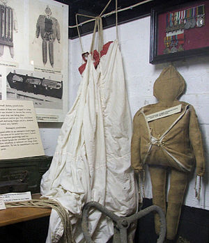 Operation Titanic - British parachute dummy now on display at the Merville Gun Battery museum in France