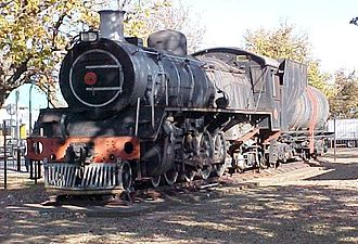 Volksrust - SAR Class 19D 2696 4-8-2 plinthed in Volksrust, 2 June 2005