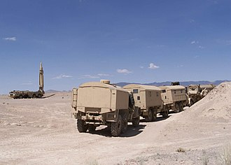 October 22 Scud missile attack - Image: SCUD missle launcher with support vehicles (2000)