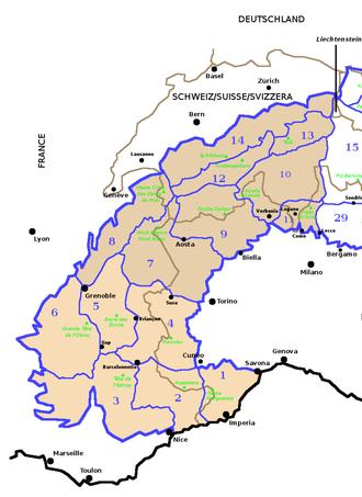 SOIUSA - SOIUSA western Alps' sections.