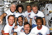 STS 61-A crew portrait onboard Challenger middeck