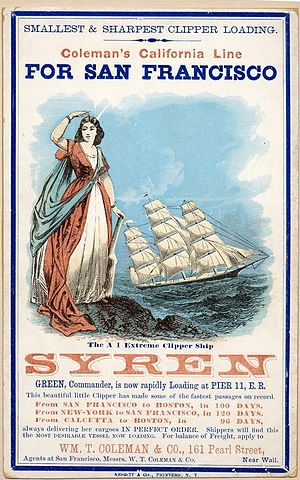 Syren (clipper) - Sailing card