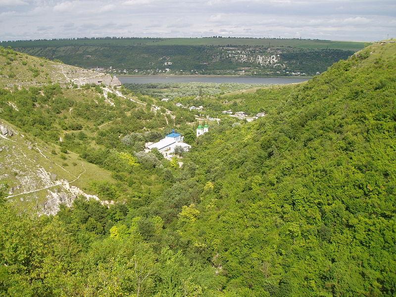 Looking down on the monastery. In Saharna, Moldova.