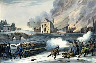 Battle of Saint-Eustache - Government troops scatter the insurgents and torch the church at the Battle of Saint-Eustache.