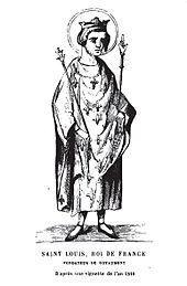 Gravure représentant Louis IX portant le sceptre et les attributs royaux, ainsi qu'une auréole.