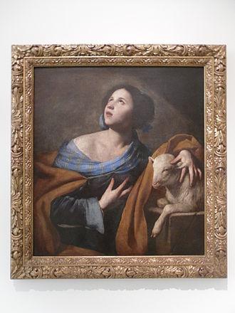 "Massimo Stanzione - ""Saint Agnes"", ca. 1635-40 (Museu Nacional d'Art de Catalunya)"