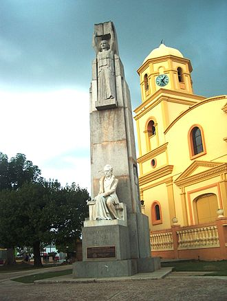 Cabo Rojo, Puerto Rico - Monument to Salvador Brau in front of the San Miguel Arcángel Roman Catholic church (1783), Cabo Rojo, Puerto Rico