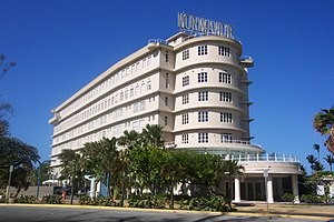Streamline Moderne - The Normandie Hotel, in San Juan, Puerto Rico, was inspired by the ocean liner SS ''Normandie'' and displays the ship's original sign.