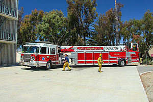 Santa Barbara Fire Department - Truck 1 during a drill at the training tower.