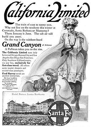 California Limited - 1910 magazine advertisement for the California Limited.