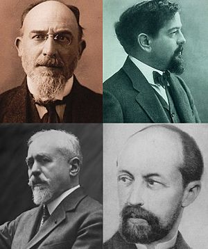 Avant-dernières pensées - Erik Satie (top left) and the dedicatees of Avant-dernières pensées: Claude Debussy (top right), Paul Dukas (bottom left), and Albert Roussel.
