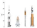Saturn-V Shuttle Ares-I Ares-V comparison (06-2006).jpg