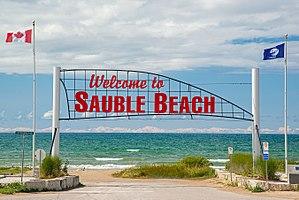 Sauble Beach, Ontario - Sign at the entrance to the beach