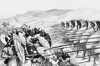 Battle of Plataea - Persians and Spartans fighting at Plataea. 19th century illustration.