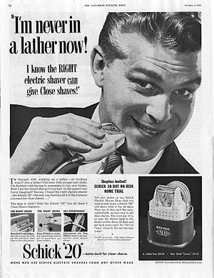 Jacob Schick - An early Schick electric shaver advertisement.