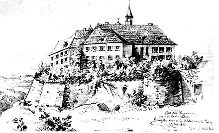 At Burgeln, Nauendorf's column separated from Latour's and marched through the morning to attack Ferino's troops in a vineyard. Schloss Burgeln 1863.jpg